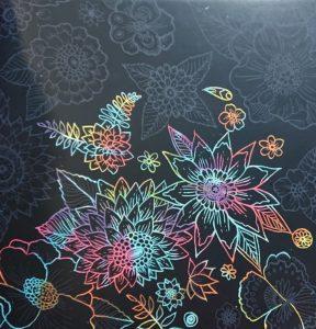 花のスクラッチアート