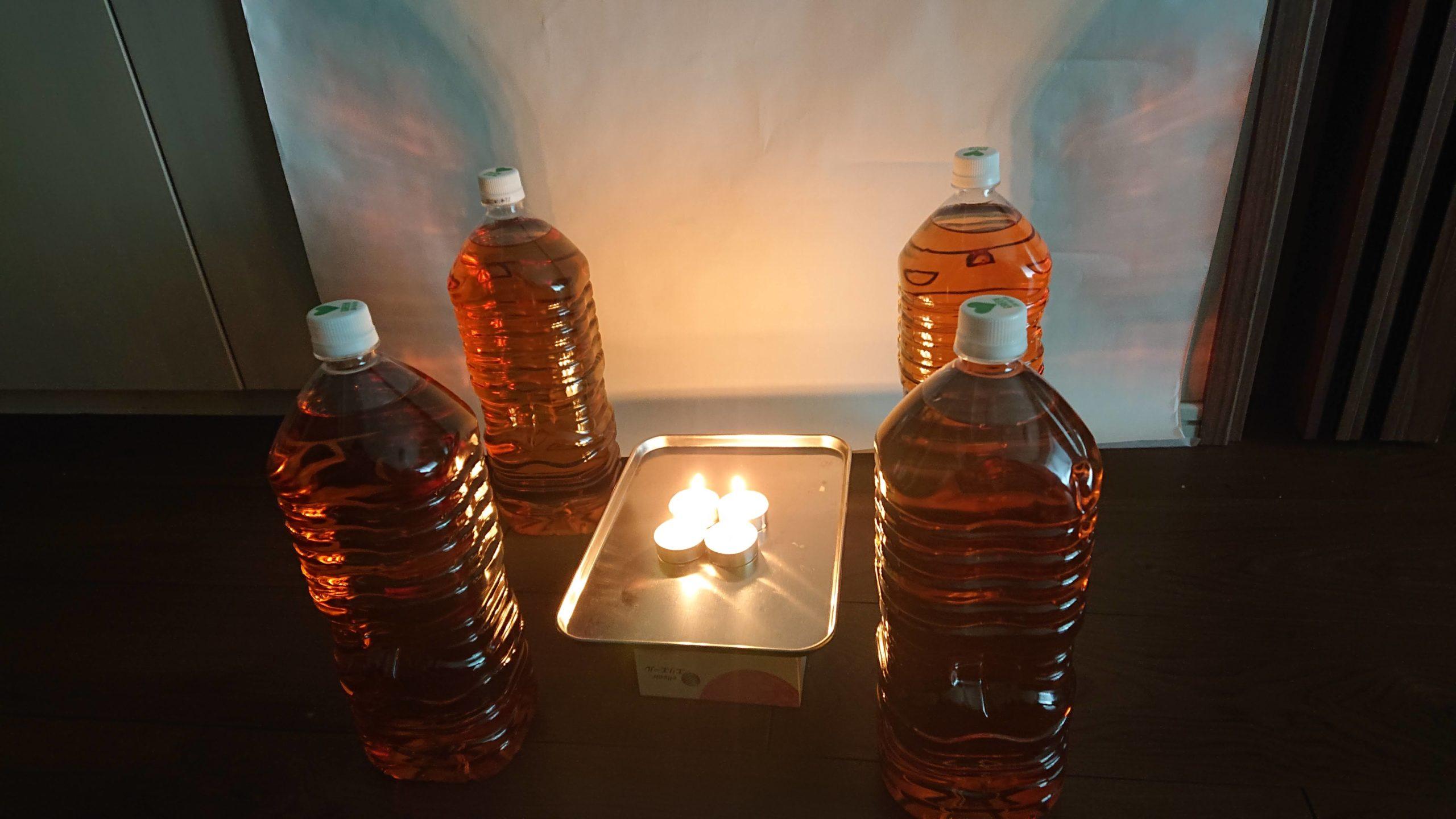 ロウソクの火と麦茶