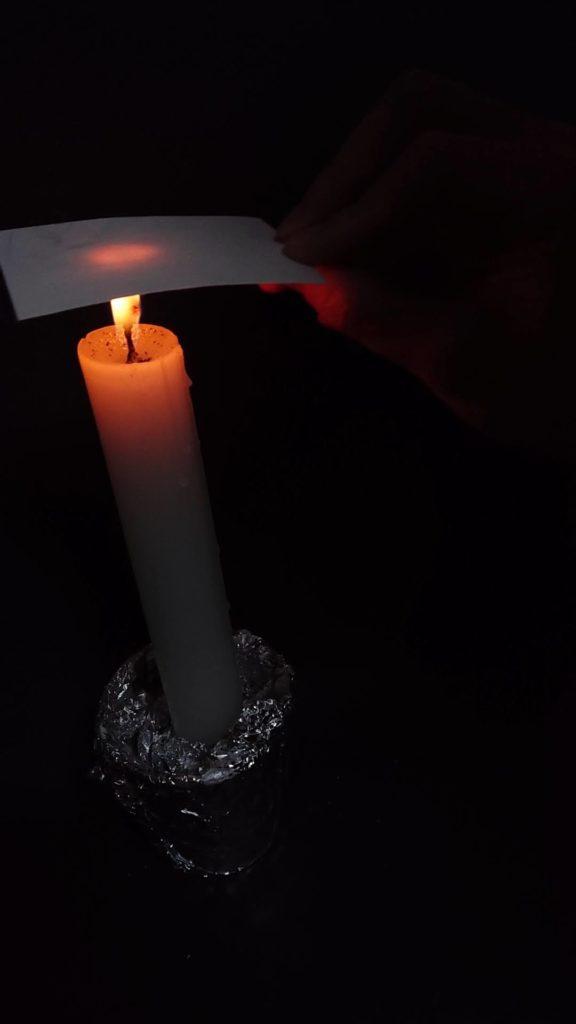 ロウソクの炎に紙を入れる